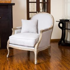 Christopher Knight Home MacArthur Weathered Oak Natural Fabric Arm Chair   Overstock™ Shopping - Great Deals on Christopher Knight Home Living Room Chairs