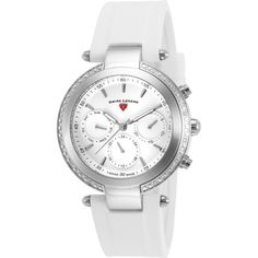 Swiss Legend Madison Diamond Multi-Function White Silicone And Dial... ($191) ❤ liked on Polyvore featuring jewelry, watches, white, diamond watches, silicone strap watches, water resistant watches, diamond dial watches and diamond jewelry