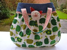 Handmade  Handbag - recycled denim - turtle print - shabby chic flower - funky. £21.95