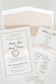 elegant this invitation blush color with pebble white blush ribbon and silver rhinestone broach