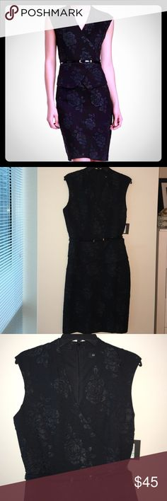 ELLEN TRACY Embroidered Floral Peplum Dress Black on black Floral Design. Very sophisticated and versatile LBD for church, professional or evening events. I'm struggling to part with this but I would have to have significant alterations to get it to fit. Shoulder to hem is 40 inches. Split back hem and peplum waist. Belt included. Ellen Tracy Dresses