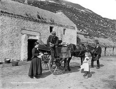 Lough Altan Smoult Farm Halfway House at Gweedore in Co. Donegal external Link(by National Library of Ireland on The Commons) Halfway House, Images Of Ireland, Irish Cottage, Glass Photo, Old Photos, Vintage Photos, Iconic Photos, Donegal, Historical Photos