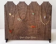 Beautiful necklace display, perfect for markets, craft fairs, or personal home use! Displays up to 12 necklaces. Get your logo custom engraved on the bottom! This, and so much more at LZRbeams on Etsy!