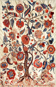 Embroidered tree of life, India Motifs Textiles, Vintage Textiles, Chintz Fabric, Madhubani Painting, Indian Patterns, Crewel Embroidery, Vintage Embroidery, Motif Floral, Tree Art