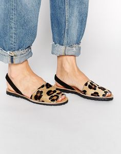Park Lane Leopard Sling Flat Leather Sandals by Asos on HeartThis