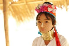 Women of the Kayan Lahwi tribe in Northern Thailand are well-known for wearing neck rings, brass coils that are placed around the neck, appearing to lengthen it. The purpose for wearing the rings is cultural identity (one associated with beauty).
