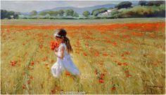 ON POPPY FIELD, painting,