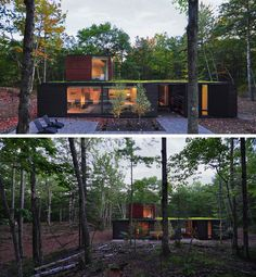 18 Modern Houses In The Forest | Large trees surround this home with a green roof located deep within the forest.