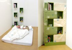 Designer Karen Babel has created a bookcase that transforms into a bed. A mattress stands upright in four bits and forms the bulk of the bookcase. | Tiny Homes