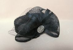classic black sinamay pillbox hat with short by LisLarsonHats