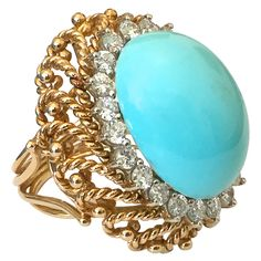 Turquoise Diamond Gold Cocktail Ring | From a unique collection of vintage cocktail rings at https://www.1stdibs.com/jewelry/rings/cocktail-rings/