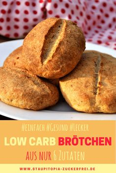 Einfache Low Carb Brötchen - Staupitopia Zuckerfrei - Simple low carb buns to enjoy: These low carb buns are not only quick to prepare, they are healthy - No Carb Recipes, Low Carb Chicken Recipes, Ketogenic Recipes, Easy Healthy Recipes, Baking Recipes, Low Carb Buns, Low Carb Bread, Low Carb Keto, Low Carb Margarita Recipe