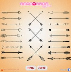 Tribal arrows clipart vector PNG instant download by designby2
