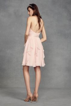 This short chiffon dress features luminous touches of satin at the waistline and crisscrossing back straps. White by Vera Wang, exclusively at David\'s Bridal Polyester Back zipper; fully lined D Vera Wang Bridesmaid, Bridesmaid Dresses, Bride Dresses, Bridesmaids, Bridal Lehenga 2017, Bridal Boutique Interior, Davids Bridal Gowns, Allure Bridal, Gowns With Sleeves