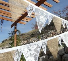 Items similar to Burlap & White LACE Fabric Wedding Decoration Bunting Banner 15 Feet of Flags Garland Cottage Chic on Etsy Lace Bunting, Wedding Bunting, Fabric Bunting, Burlap Fabric, Burlap Lace, Wedding Fabric, Bunting Banner, Diy Wedding, Rustic Wedding