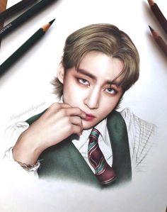 Kpop Drawings, Anime Drawings Sketches, Pencil Art Drawings, Kawaii Drawings, Taehyung Fanart, Jimin Fanart, Kpop Fanart, Cute Girl Sketch, Anime Boy Sketch