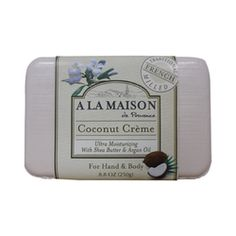 $5.39- A La Maison Bar Soap - Coconut Creme - 8.8 oz, A La Maison is a unique line of traditional French milled liquid soap and bar soap for hand and body which contains 100% vegetable oils.