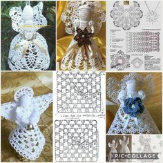 Schemi di angeli a uncinetto da appendere, con schemi Schemi di ange. Crochet angels patterns to hang, with patterns # hækletjul Crochet angels patterns to hang perfect as Easter or Chris Crochet Christmas Ornaments, Holiday Crochet, Christmas Crafts, Christmas Decorations, Crochet Angel Pattern, Crochet Angels, Crochet Carpet, Christmas Coloring Pages, Christmas Colors