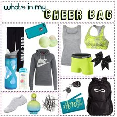 What's In My Cheer Bag by elsye-jones on Polyvore featuring NIKE, Amanda Wakeley, Victoria's Secret PINK, Aéropostale, H&M, Britney Spears, Topshop and CamelBak