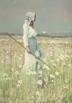 """ Beauty in Landscape – Girl in a Meadow - 1905 William Page Atkinson Wells Dimensions: Height: cm in.) Painting - oil on canvas Harris Museum and Art Gallery - Preston (UK)"""