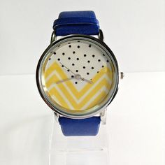 Yellow Chevron and Polka Dots Watch, Vintage Style Leather Watch, Women Watches, Unisex Watch, Boyfriend Watch, Blue on Etsy, $11.25 AUD