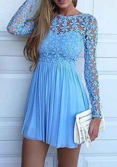 Blue Patchwork Hollow-out Lace Long Sleeve Mini Dress