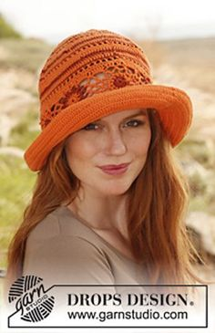 """Ravelry: 139-8 """"Summer Harmony"""" - Hat in """"Safran"""" and """"Cotton Viscose"""" pattern by DROPS design"""