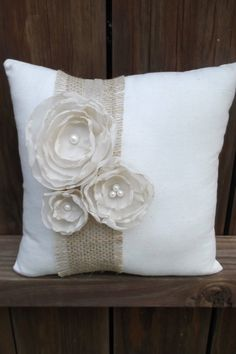 @Audrey Smith , here's another idea - cute Ring Bearer Pillow by ChicLittleSomethings on Etsy, $12.00