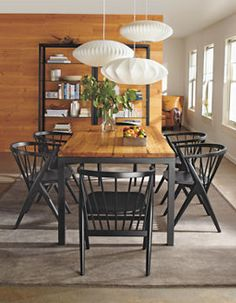 Room & Board Parson's dining table with Reclaimed Wood top. Love it! #diningroom