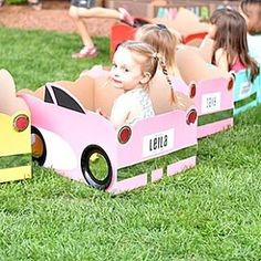 Look at the adorable cardboard cars that were used at the drive in movie party featured on #KarasPartyIdeas.com (link in bio for all details)! Styled by @delightpaperie!