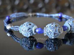 beading on denim jewelry | Handmade Necklace, Blue Denim/Glass Beads, Unique Jewelry, Fashion ....  Want to make as bracelet.