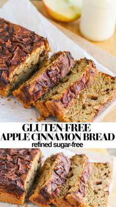 Gluten-Free Healthy Apple Cinnamon Bread made refined sugar-free. Recipe is moist, fluffy and magically delicious with a secret ingredient! A healthy breakfast or snack for fall #glutenfree #sugarfree #healthy #applecinnamon #recipe