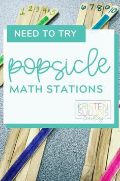Do you need some fresh ideas for your elementary math centers? Grab some popsicle sticks and create these station activities! These math activities are perfect for first grade students. Your little learners will practice tally marks, open number lines, 2D shapes, addition, and more! Perfect for guided math groups as well. #math #firstgrade #handsonlearning