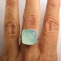 Sea Green Chalcedony Cocktail Ring by JanishJewels on Etsy