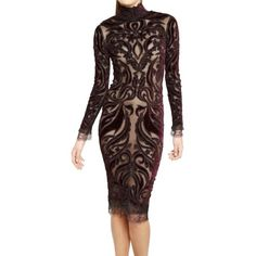 Emilio Pucci Sheer Bead & Velvet Open Back Dress ($1,600) ❤ liked on Polyvore featuring dresses, purple, purple sequin dress, long sleeve sequin dress, velvet dress, purple dress and sequin dress