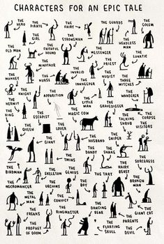 This makes me wish I taught creative writing.Fun creative writing- characters you need for an epic tale by tom gauld. students choose one, three, ten -- then write! Book Writing Tips, Writing Resources, Writing Help, Short Story Writing, Writing Prompts For Writers, Essay Prompts, Writers Notebook, Creative Writing Prompts, Story Prompts