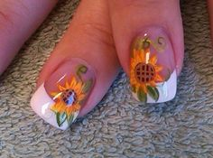 Extend fashion to your fingernails by using nail art designs. Worn by fashion-fo. - Extend fashion to your fingernails by using nail art designs. Worn by fashion-forward personalities - Fancy Nails, Cute Nails, Pretty Nails, Hair And Nails, My Nails, Sunflower Nail Art, Fall Nail Art, Autumn Nails, Cute Nail Designs