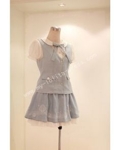 College Style Shell Embroidery Top Petticoat Short Skirt Suit #lolitadress   #skirt  #suit