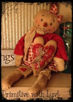 Primitive Snowman, Snowgirl Raggedy Doll, Valentines Heart Ornie grubby