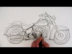 How to Draw a Motorcycle: Time Lapse Video I had to pin it couldn't help it.