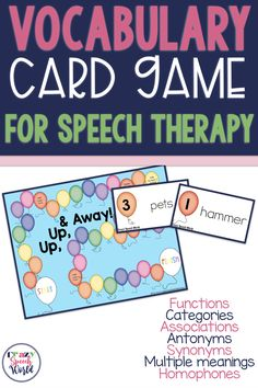 Vocabulary game for speech therapy