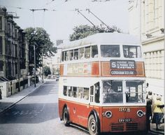 Trolley 1960's bus looks like junction of Fawcett Rd, and Highland Road