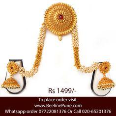 Bridal wedding collection bun pin earring 1 Gram Gold ruby Online | Beeline