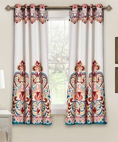 Loving this Turquoise & Tangerine Clara Darkening Curtain Panel - Set of Two on #zulily! #zulilyfinds