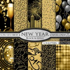 """16 printable digital backgrounds in black and gold for the 2015 New Year and New Year's Eve featuring: fireworks over skyline; black, gold and gray glitter papers; champagne glasses and bokeh; disco ball; confetti; dance club lights; ribbons; balloons; and """"2015"""" texts with a goat head as the """"2"""" in the design—2015 is the year of the goat in the Chinese New Year.   All three papers that have """"2015"""" on them also come with a version without the year, so that you can customize or reuse every…"""