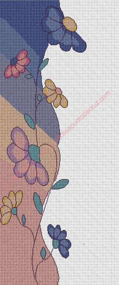 Gráfico a punto de cruz - Cenefa vertical con flores 38 x 100 cm