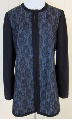 Coldwater Creek Women's Size 8 Black Blue Lacy Jacket Blazer Proto Model #ColdwaterCreek #Blazer