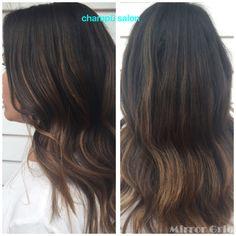 Caramel ombré highlights on brunette. Champü salon