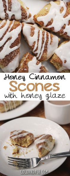 Honey Cinnamon Scones with a cinnamon glaze. Great for Breakfast or Brunch! #scones #cinnamon #honey #recipes