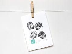 """""""BLACKBERRIES"""" Fruit Linocut Art Print 5x7"""" Linoprint, blackberry, berry, printmaking, stamp, ink"""